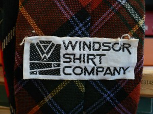 Windsor shirt label on the back of tie