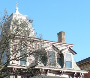 pink victorian house details