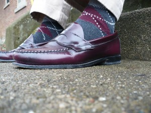 Grey-Burgundy-Striped-Socks