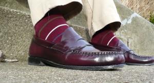 Multi-Striped-Burgundy-Socks