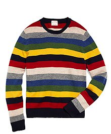 Lambswool Multistripe Crewneck Sweater