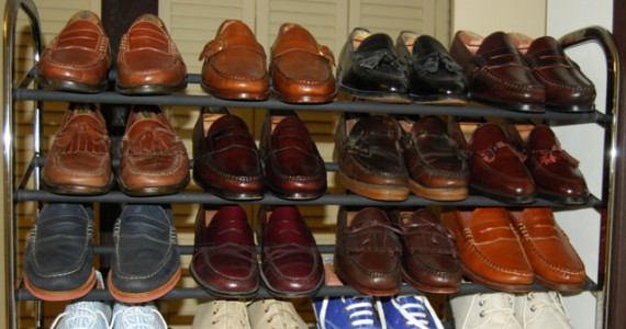 Loafer rack full of shoes