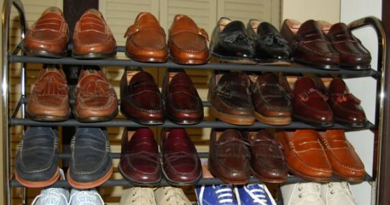 Loafer rack full of shoes