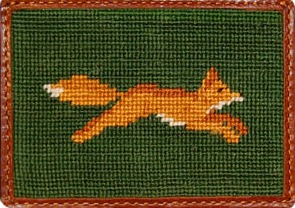 Smather and Branson Fox Needlepoint Credit Card Wallet