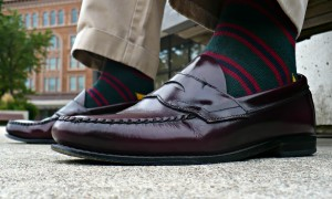 RL Rugby Green, Burgundy, and Navy  Striped Socks