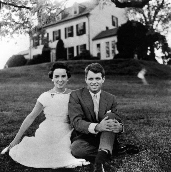 Bobby Kennedy with wife 1957