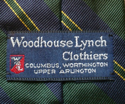 Woodhouse Lynch Clothiers Tie Lablel