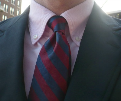 Pink OCBD with Red and Burgundy Tie