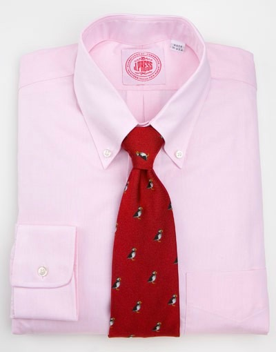 Pink OCBD with Red club tie
