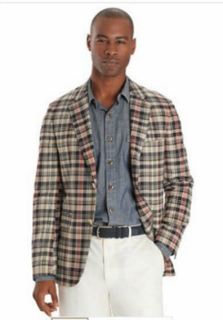 Cambridge Fit Three-Button Madras Sack Sport Coat 1