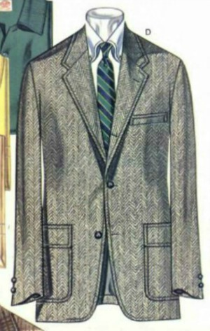 Grey Herringbone Sack Sport Jacket