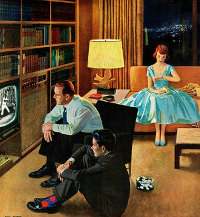 Date With The Television, art by John Falter.  Detail from Saturday Evening Post cover April 21, 1956.