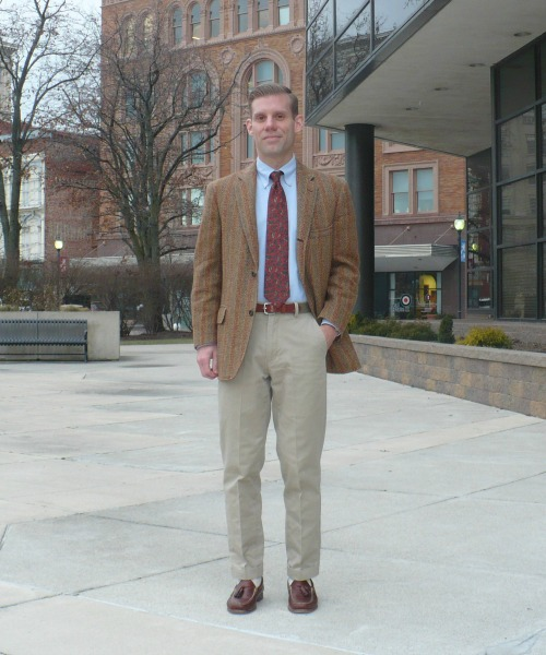 Brown Striped Tweed and tan chinos