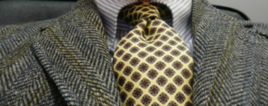 Yellow tie and Striped Grey Tweed