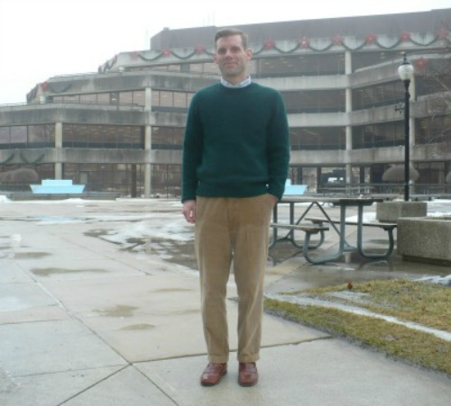 Green Sweater and Tan Cords