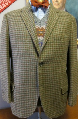 960s Brown Olive Houndstooth Tweed