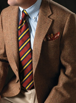 Ben Silver Russet and Wheat Herringbone Harris Tweed Sport Coat