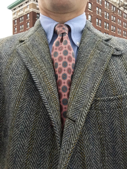 Grey Tweed & Pink Tie