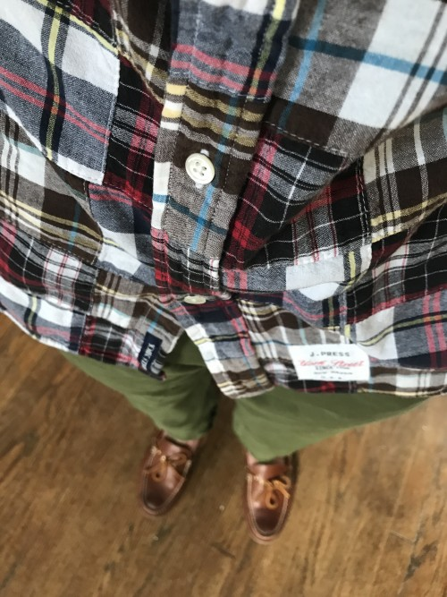 Olive Chinos and Patchwork Madras