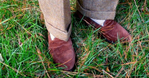 Shetland Herringbone Tweed with AE loafers