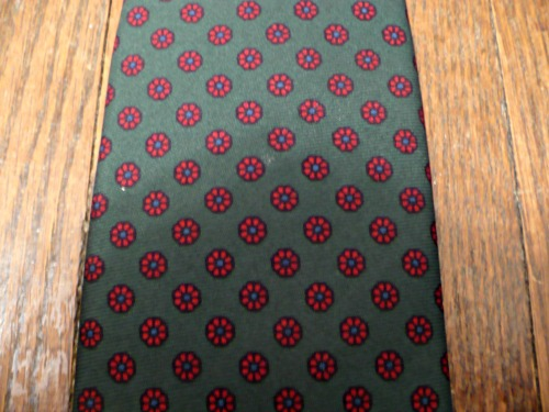 Green and Red Flower Neat Tie