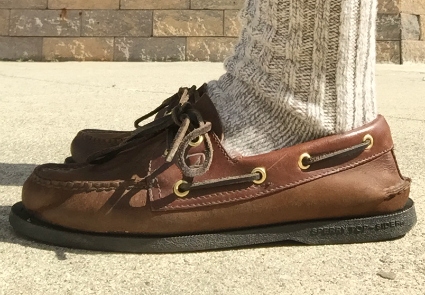 Boat shoes with ragg wool socks