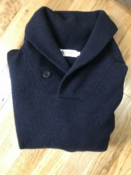 J.Crew Navy Wool Shawl Collar Sweater