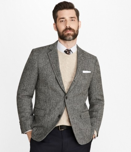 Grey 3/2 Roll Tweed Jacket